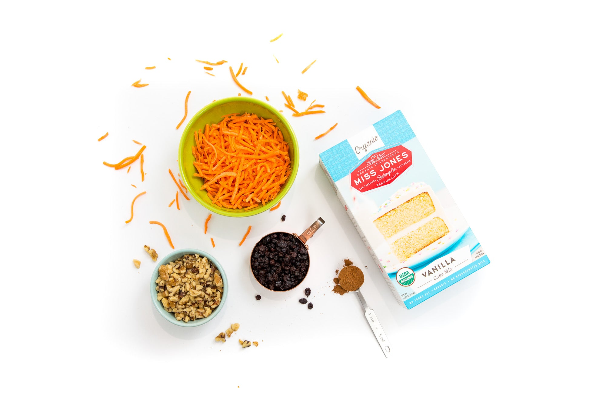 Image of ingredients used for Miss Jones Baking Co Carrot Cake Bark with a box of Miss Jones Vanilla Cake Mix