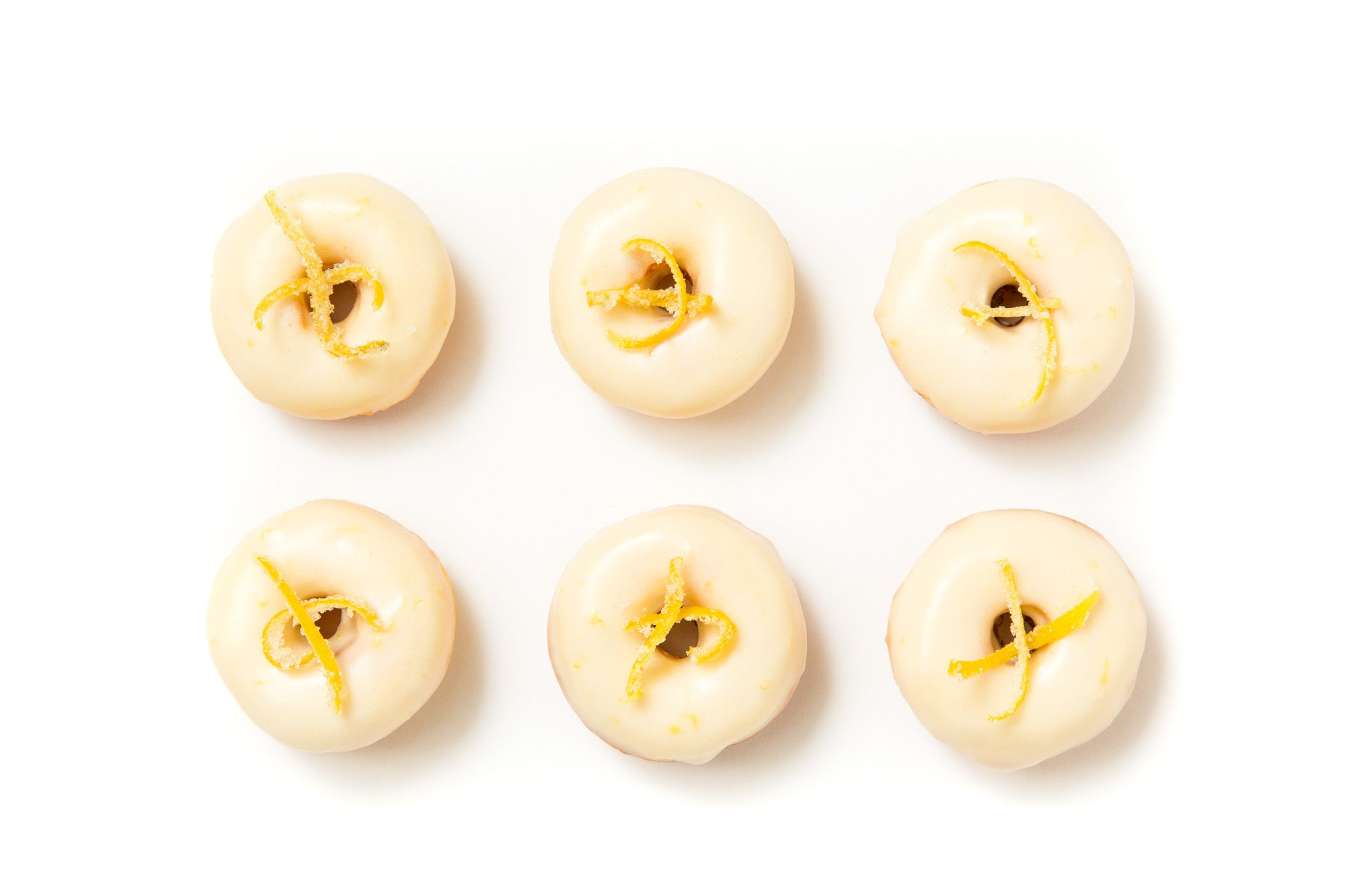 Image of six Miss Jones Baking Co Lemonade Donuts from above