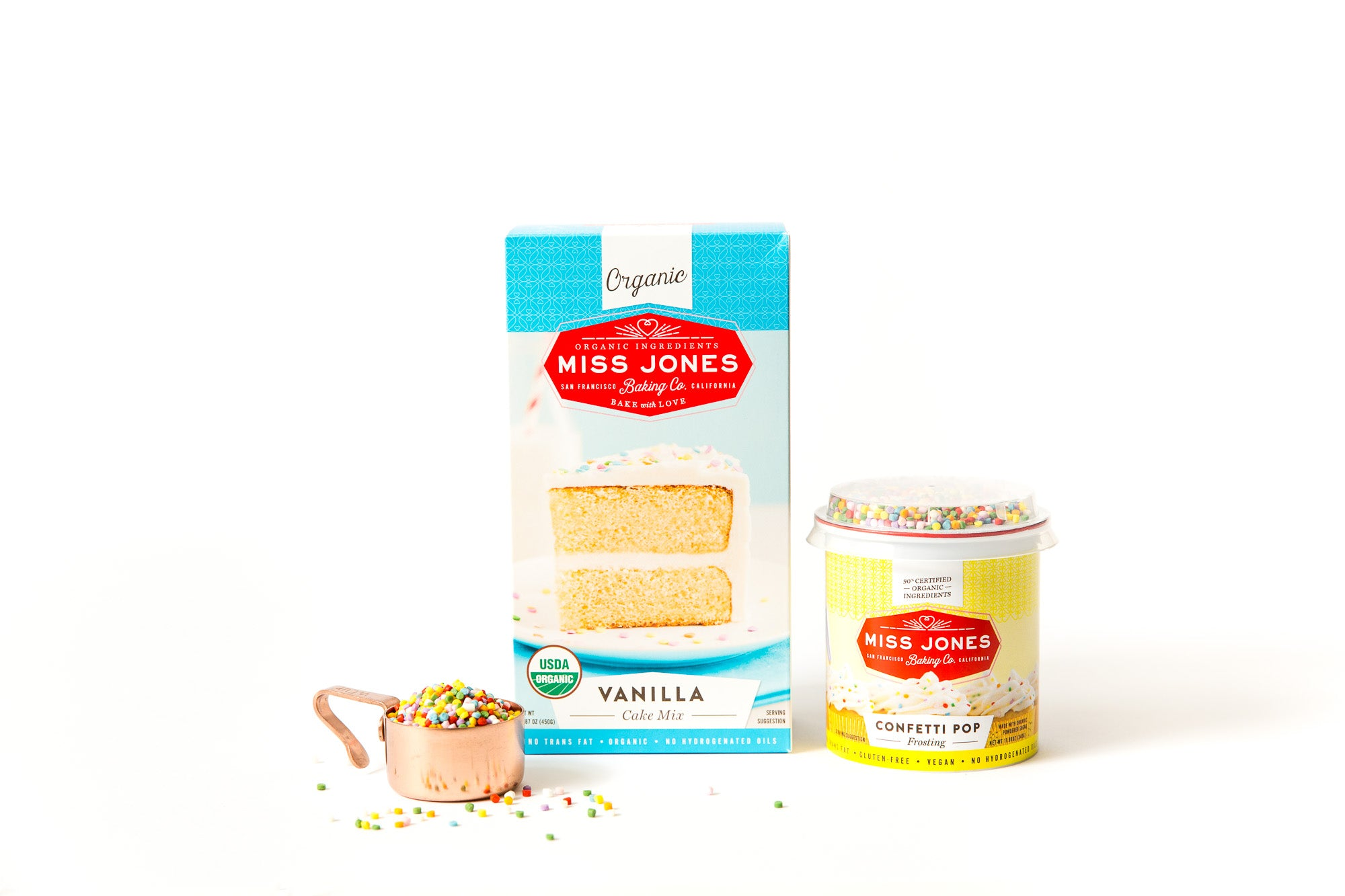 Image of Miss Jones Baking Co Vanilla Cake Mix and Confetti Pop Frosting