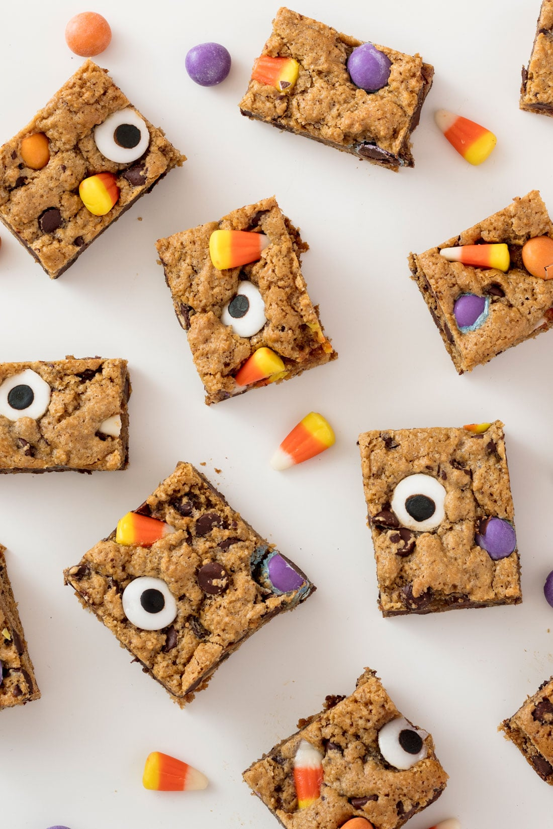 Closeup of Miss Jones Baking Co Monster Cookie Bars with candy corns