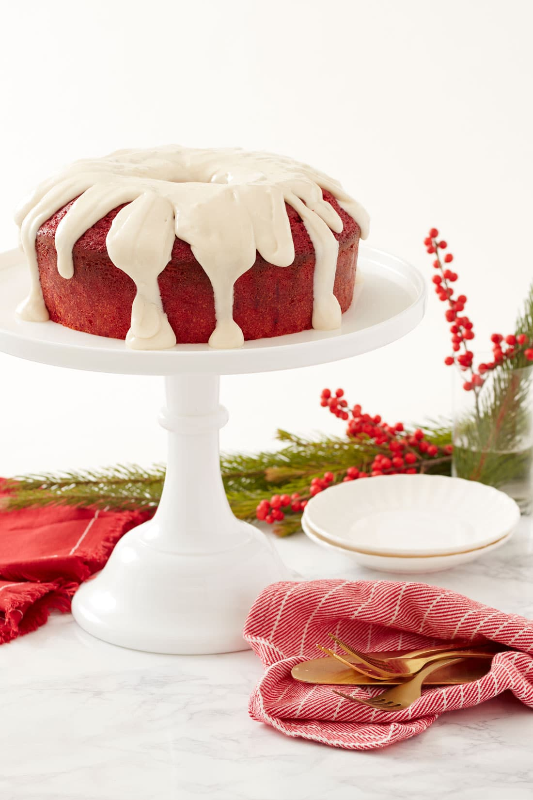Image of a whole Miss Jones Baking Co's Red Velvet Bundt Cake and Cream Cheese Glaze
