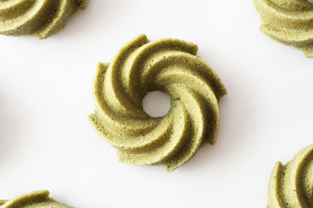 Close up image of Miss Jones Baking Co Matcha Tea Cakes from above
