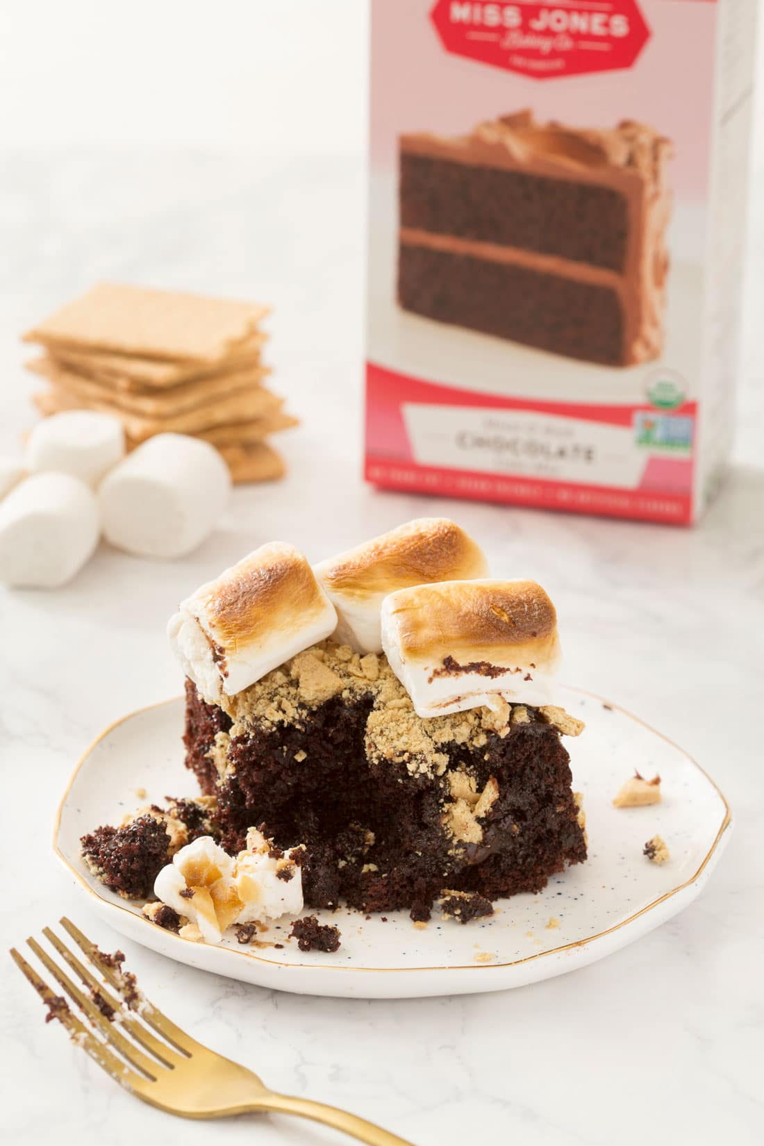 Miss Jones Chocolate S'mores Poke Cake on a plate in front of a box of Miss Jones Organic Chocolate Cake mix
