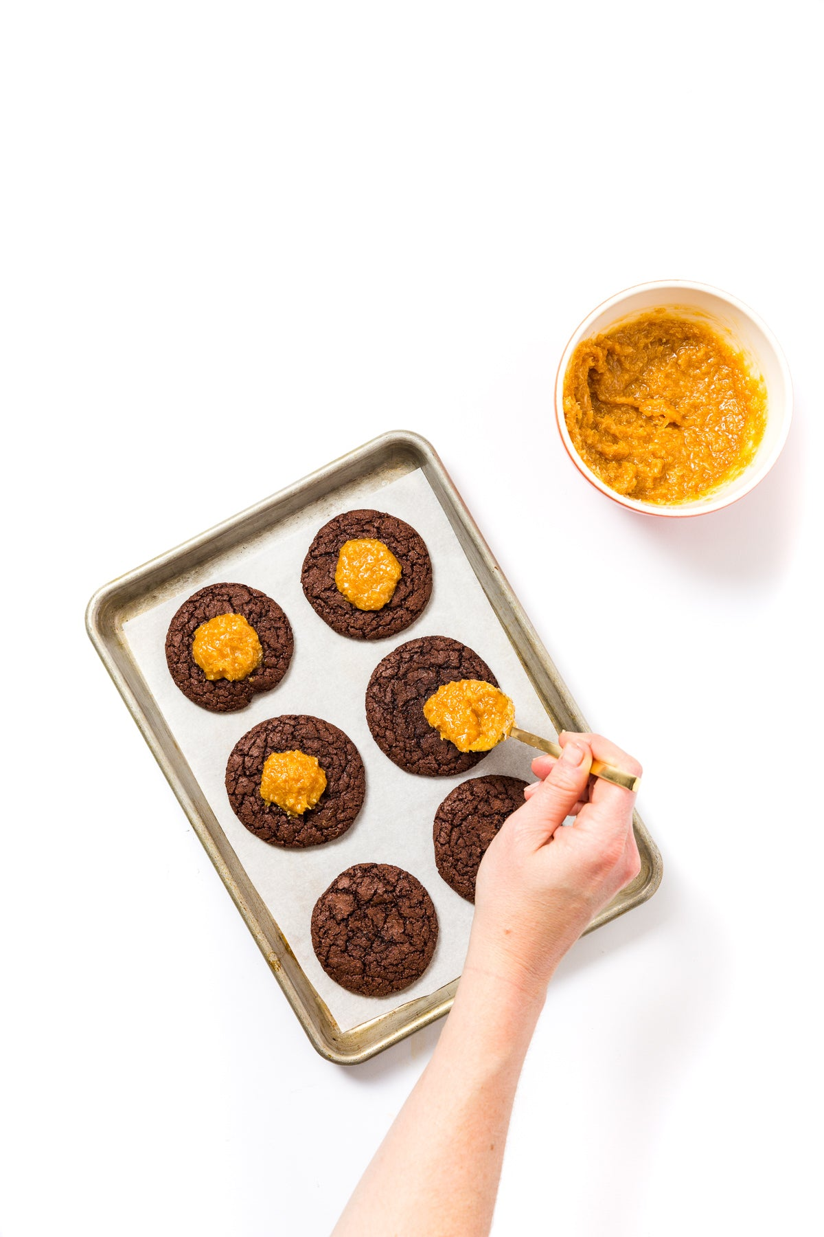 Image of top of baking with six of Miss Jones Baking Co Coconut Caramel Brownie Cookies
