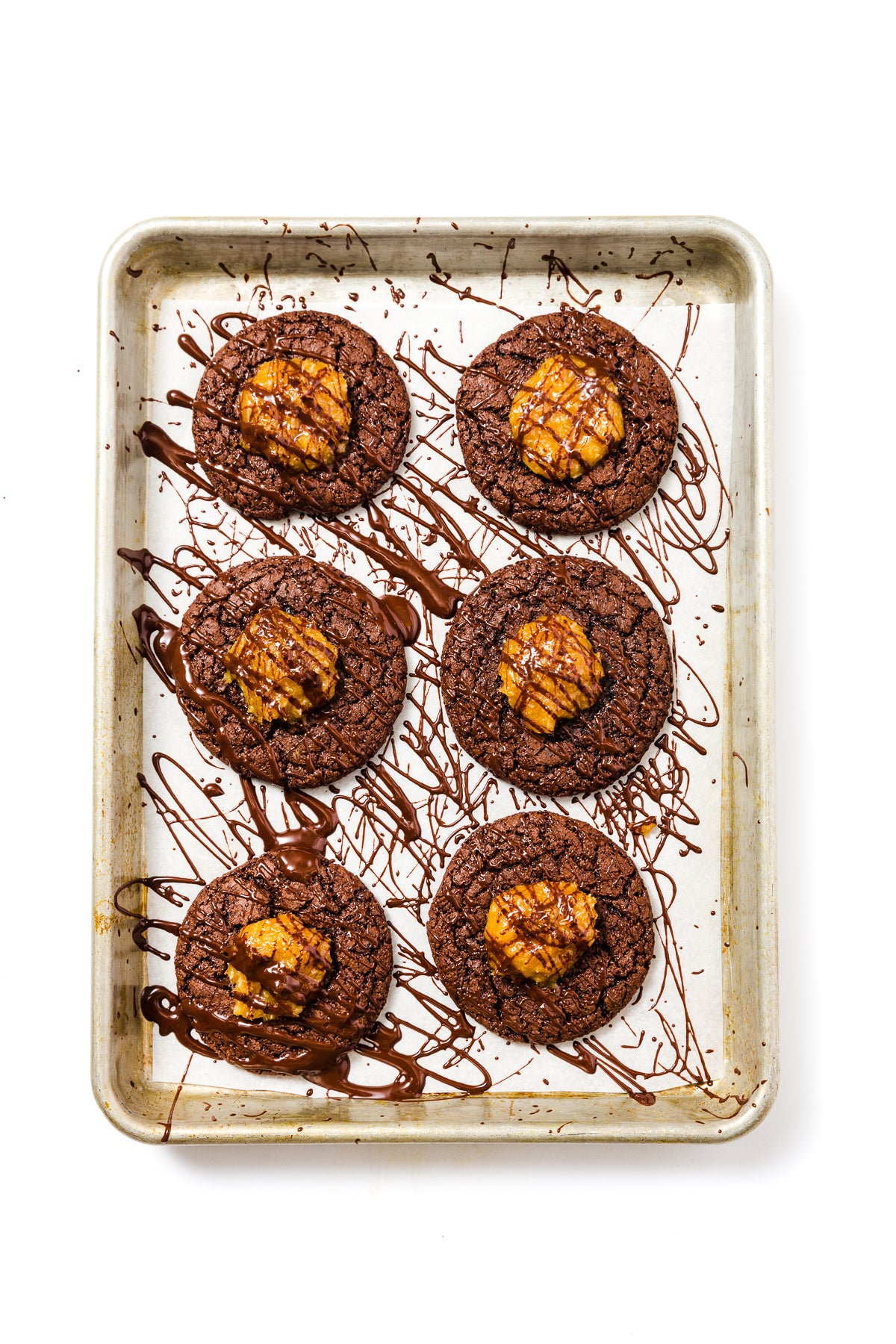 Image of top of baking sheet with six final Miss Jones Baking Co Coconut Caramel Brownie Cookies