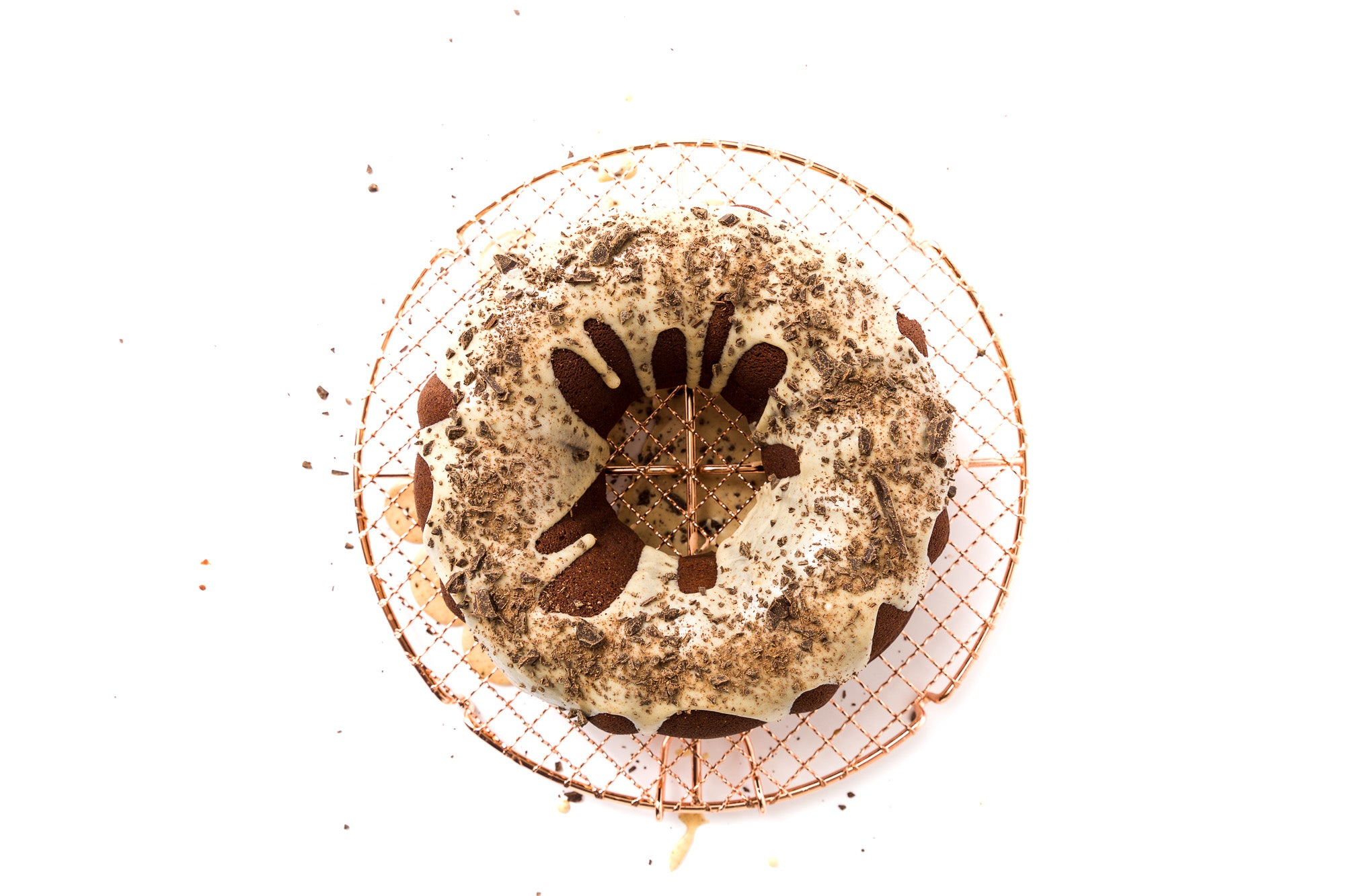 Image from above of Miss Jones Baking Co Chocolate Almond Butter Bundt Cake on baking rack