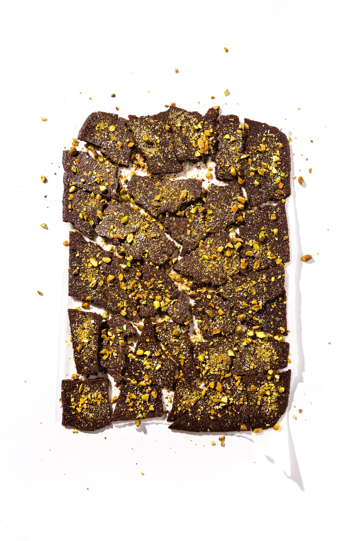 Image of full sheet of Miss Jones Baking Co Brownie Batter Bark cracked into pieces