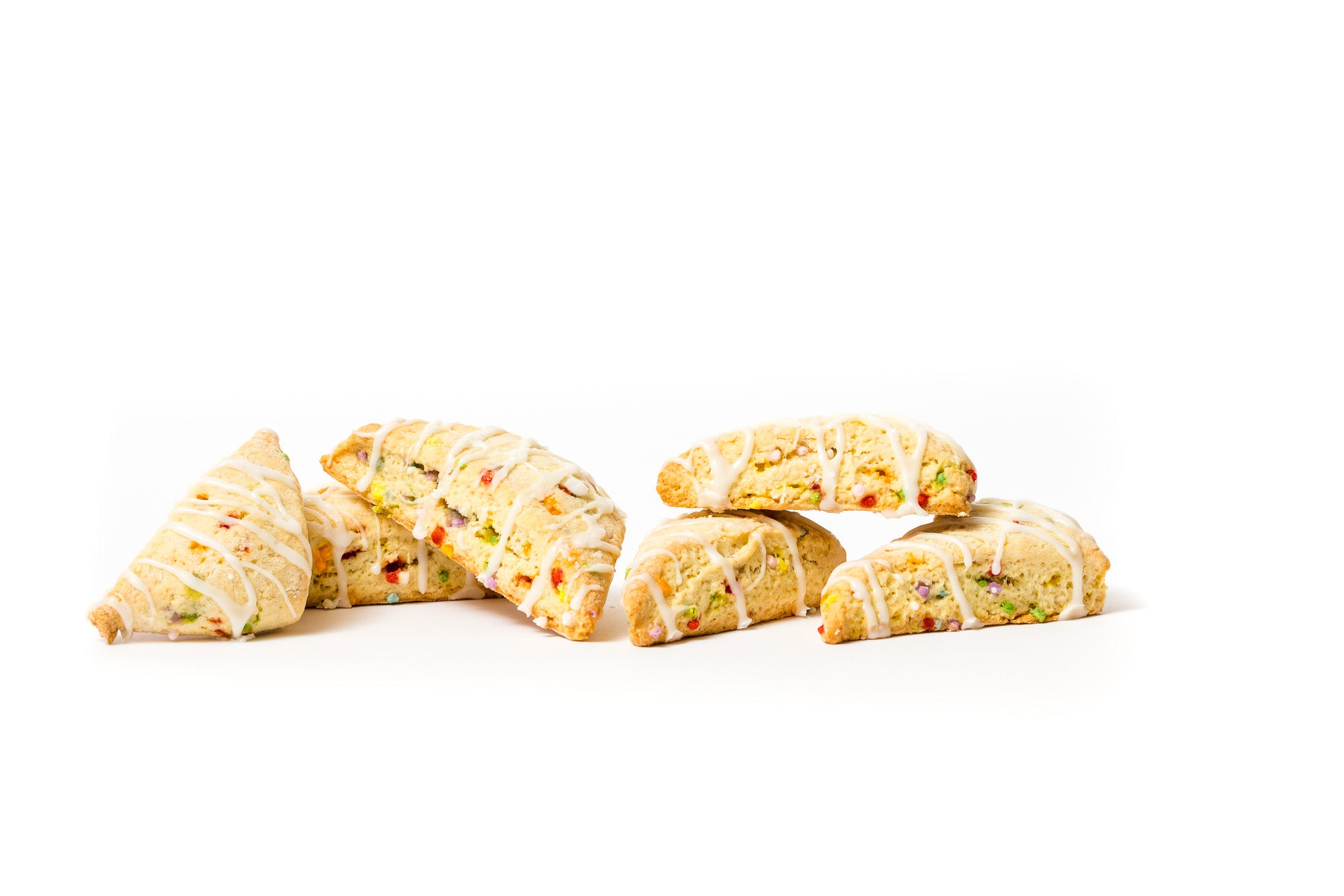 Image of six Miss Jones Baking Co Confetti Pop Cookie Mix Sprinkle Scones piled up