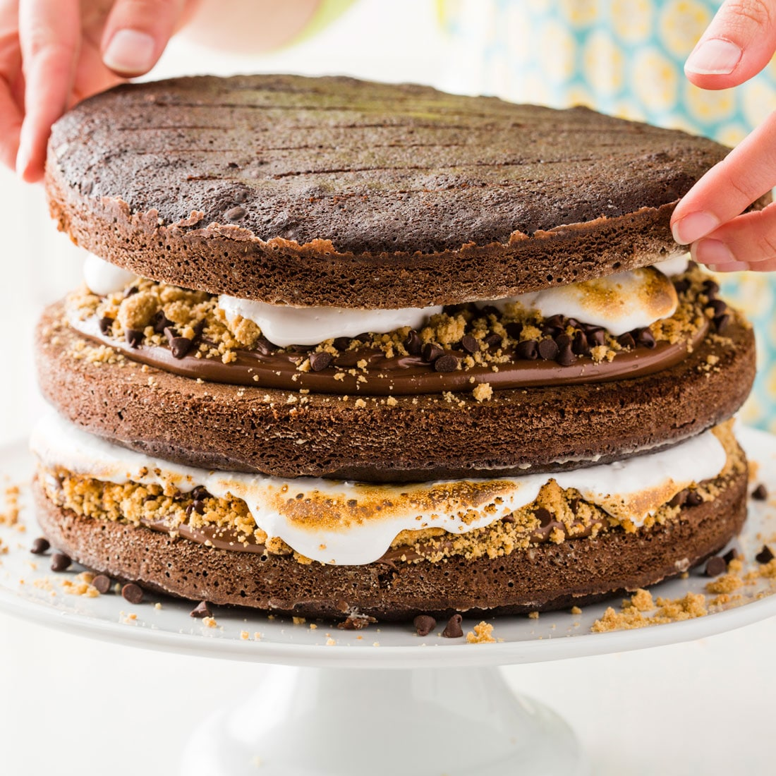 The side of Miss Jones Baking Co's Salted Nutella S'more Cake with the layers