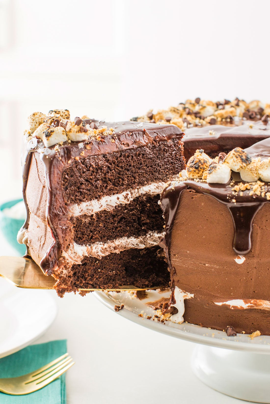 A slice of Miss Jones Baking Co's Salted Nutella S'more Cake