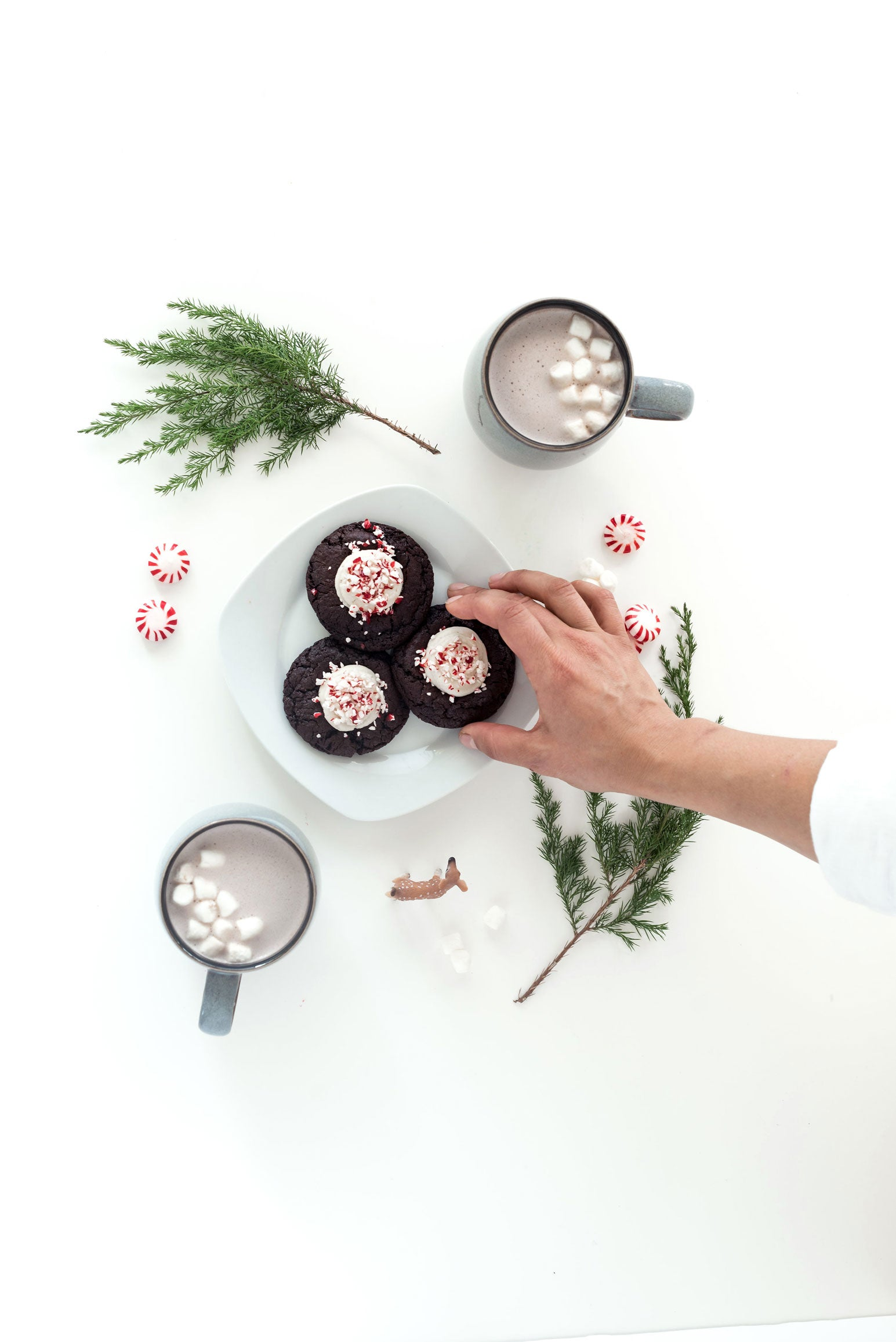 Chewy Chocolate Cake Mix Thumbprint Cookies with Peppermint Bark Frosting | Miss Jones Baking Co.