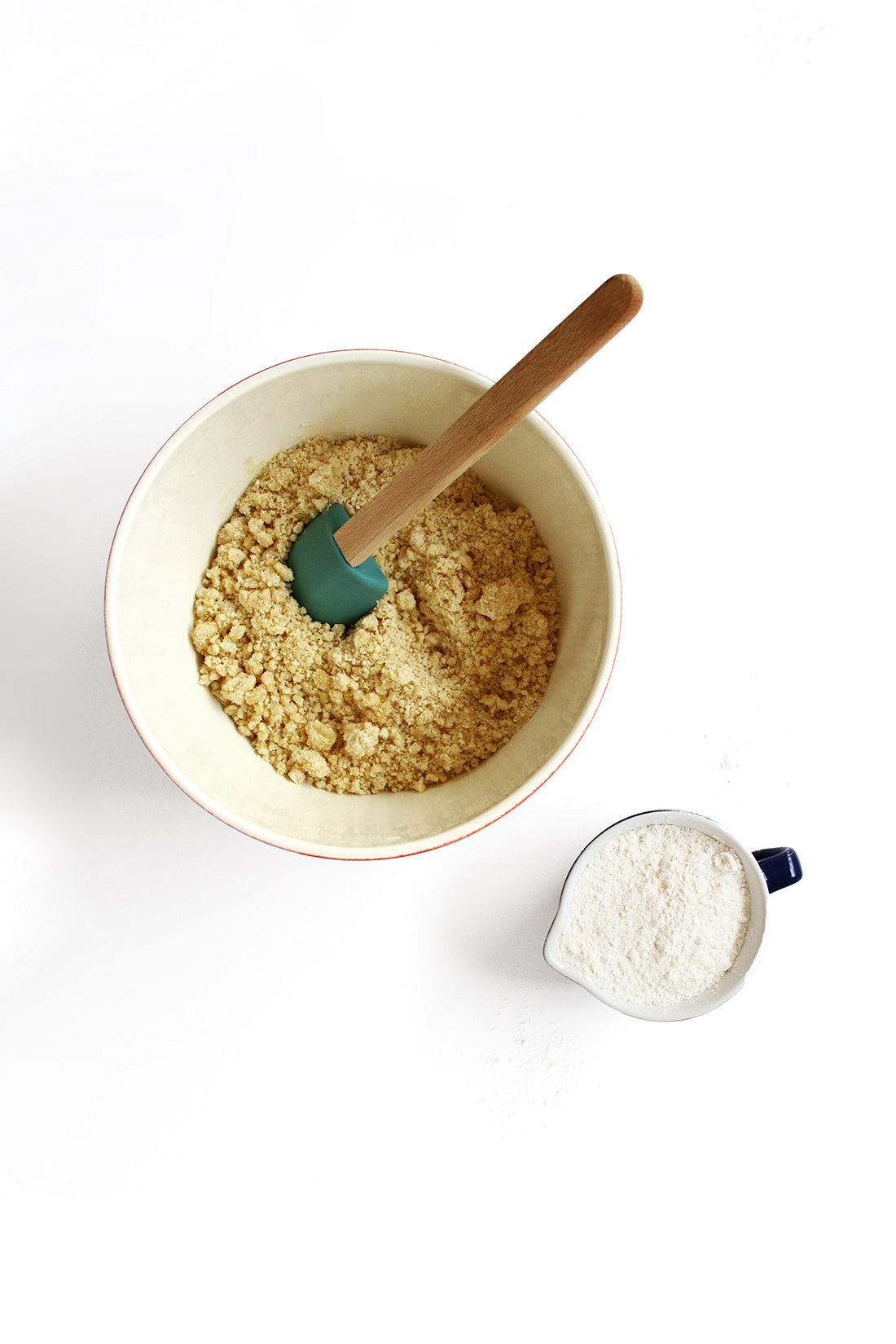 Image from above of Miss Jones Baking Co Salt + Pepper Shortbread batter in a mixing bowl