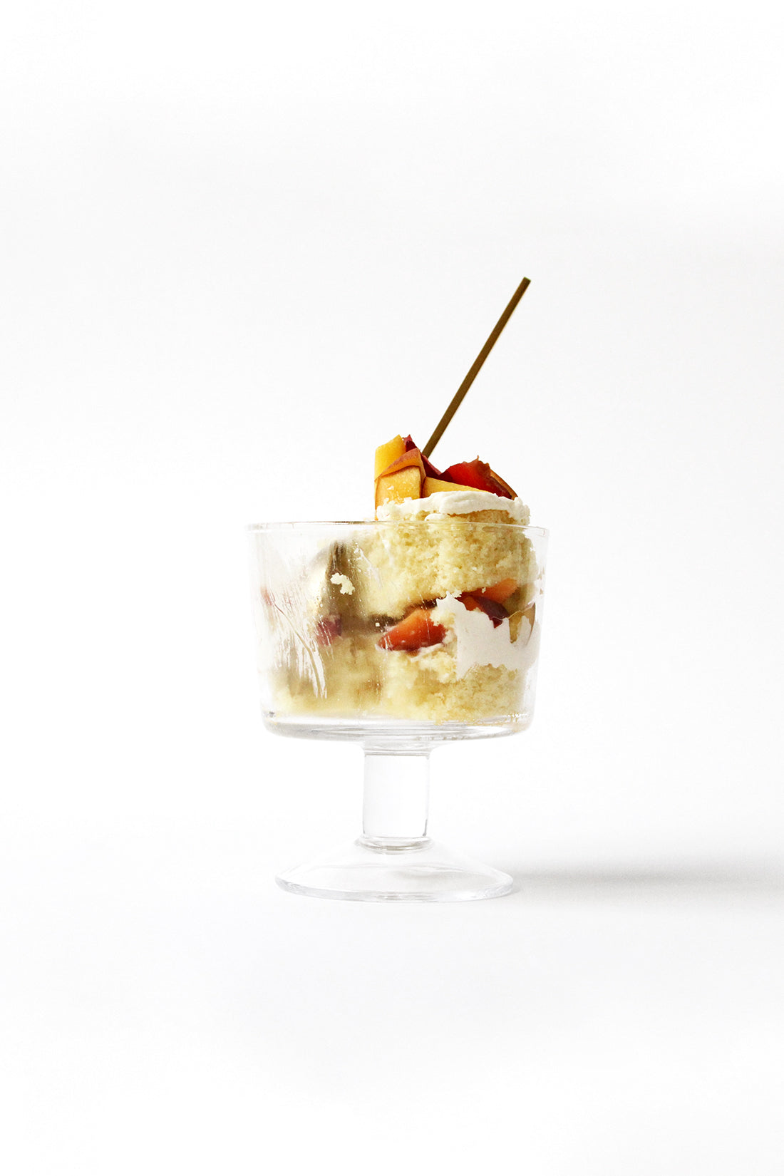 Image from the side of a partly eaten Miss Jones Baking Co Stone Fruit Shortcake