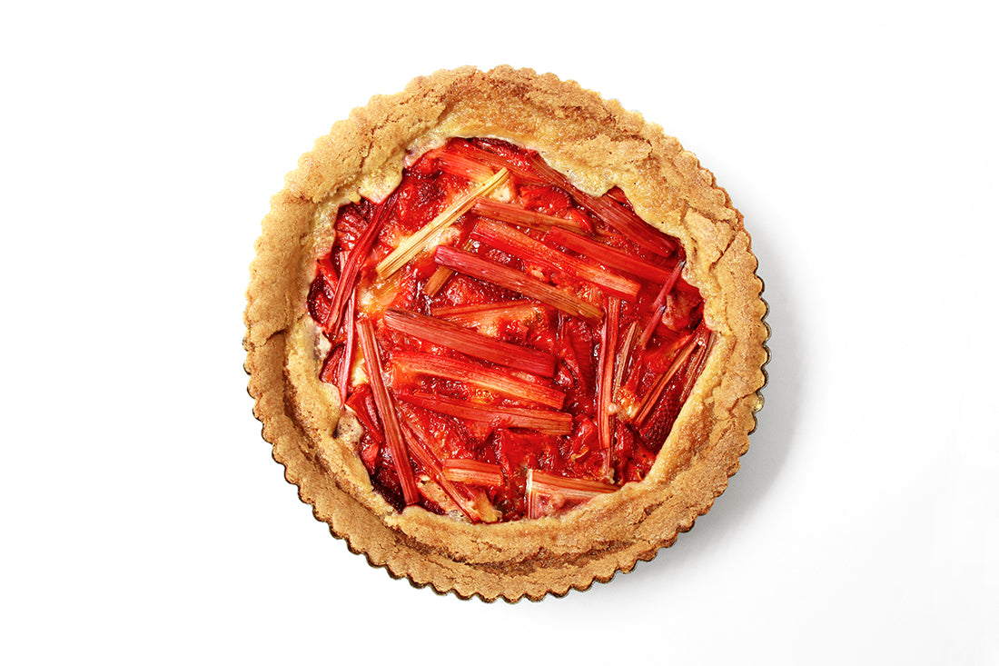 Image from above of a Miss Jones Baking Co Summer Strawberry + Rhubarb Tart