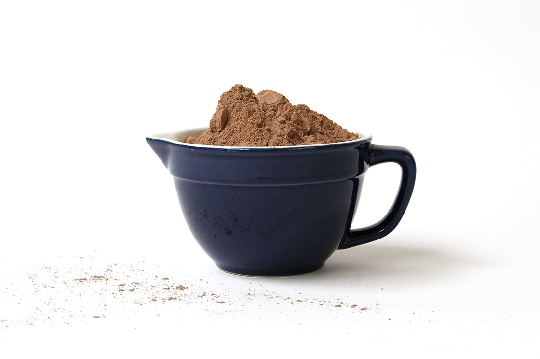Image of the side of a mug with Miss Jones Chocolate Cake Mix for Miss Jones Baking Co Sarah's Texas Sheet Cake Recipe
