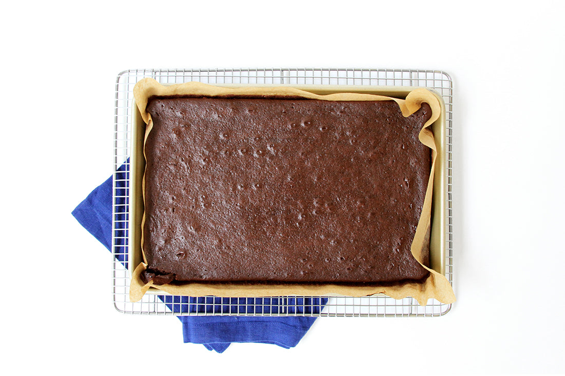 Image from above of Miss Jones Baking Co Sarah's Texas Sheet Cake on a baking rack