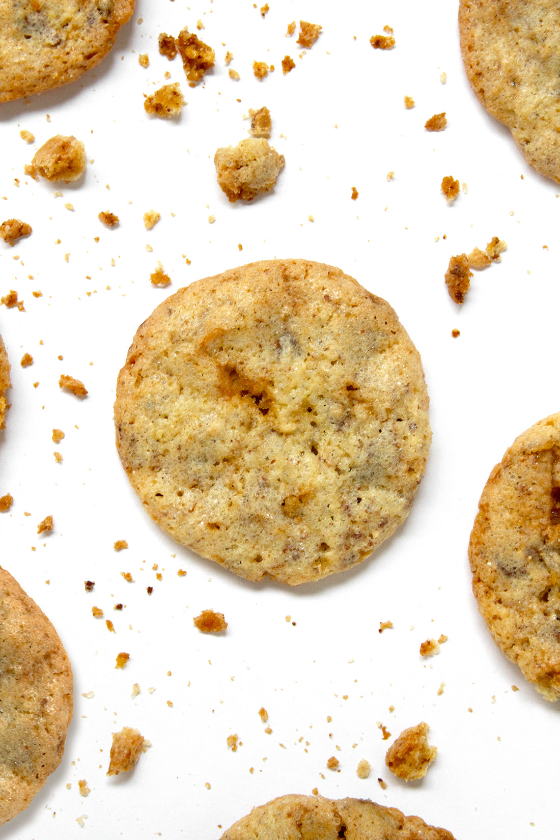 Image from above of Miss Jones Baking Co Sarah's Toffeedoodles surrounded by cookie crumbs