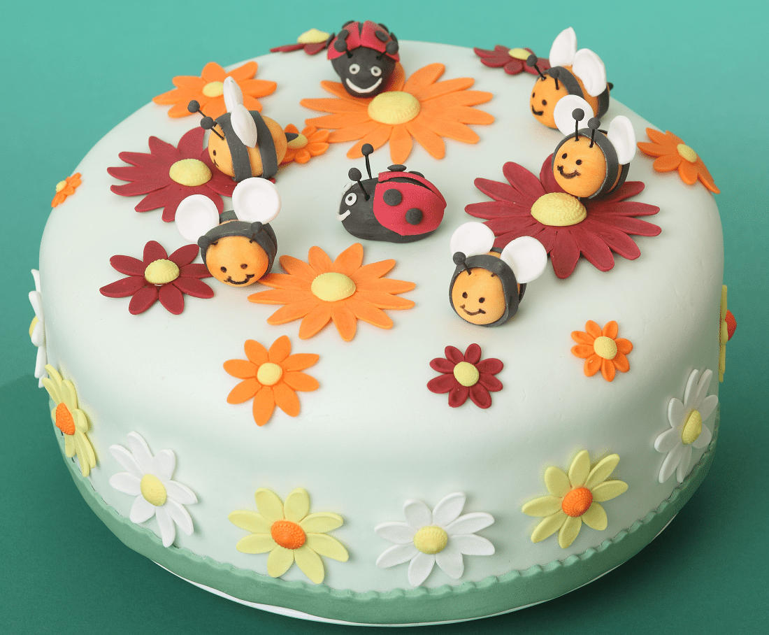 cute cake with ladybugs bees and flowers