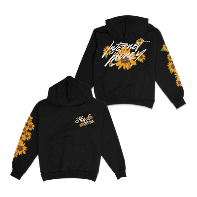 Black hoodie with flowers and the words His and Hers on the left chest. The back has sunflowers and the words Internet Money. Sunflowers are printed on the right sleeve.