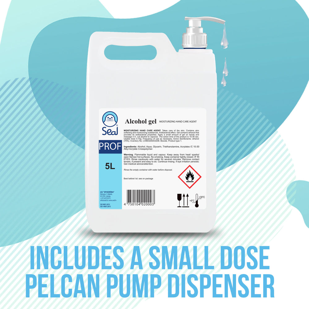 Load image into Gallery viewer, 5L Hand Sanitiser Gel 70% Alcohol + FREE Dispenser Pump