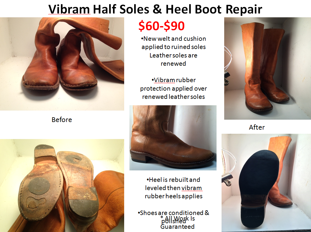 We repair sandals to boots and everything in between! All repairs are high  quality done by professionals, and as always, satisfaction is guaranteed.