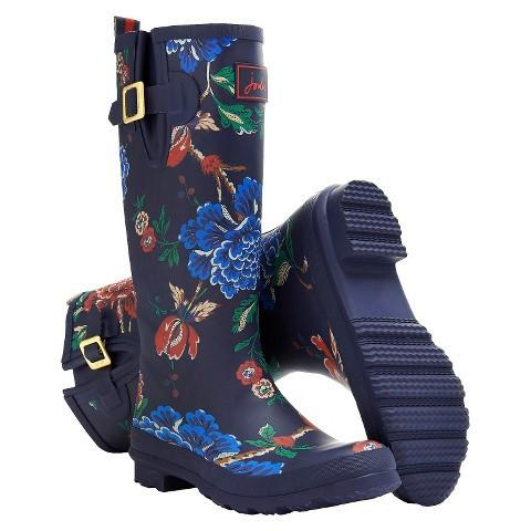 Joules Women's Rain Boot Welly Print Navy Flower