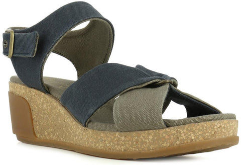 El Naturalista Women's N5007t Seaweed Canvas Wedge Sandal