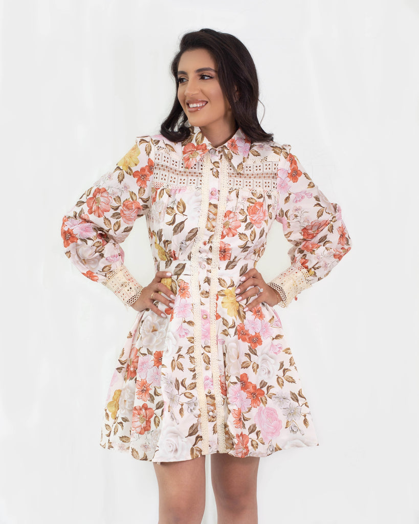 Autumn Long Sleeve Button Down Dress Floral