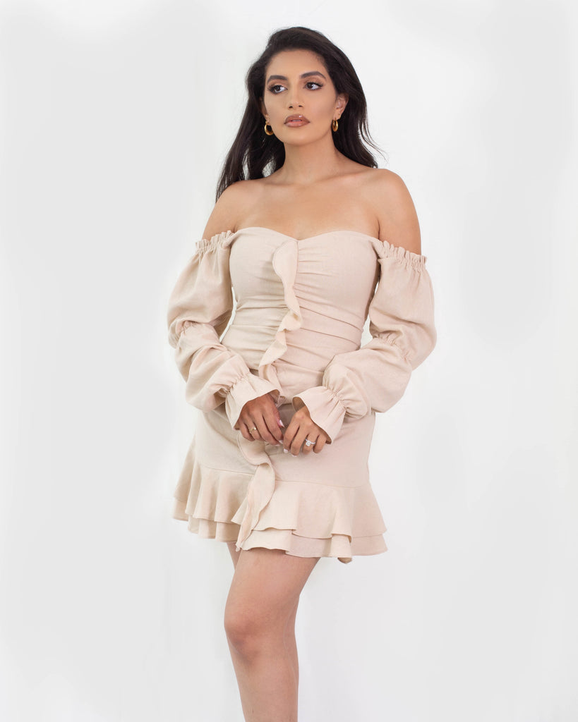 Sophia Long Sleeve Ruffle Dress Sand