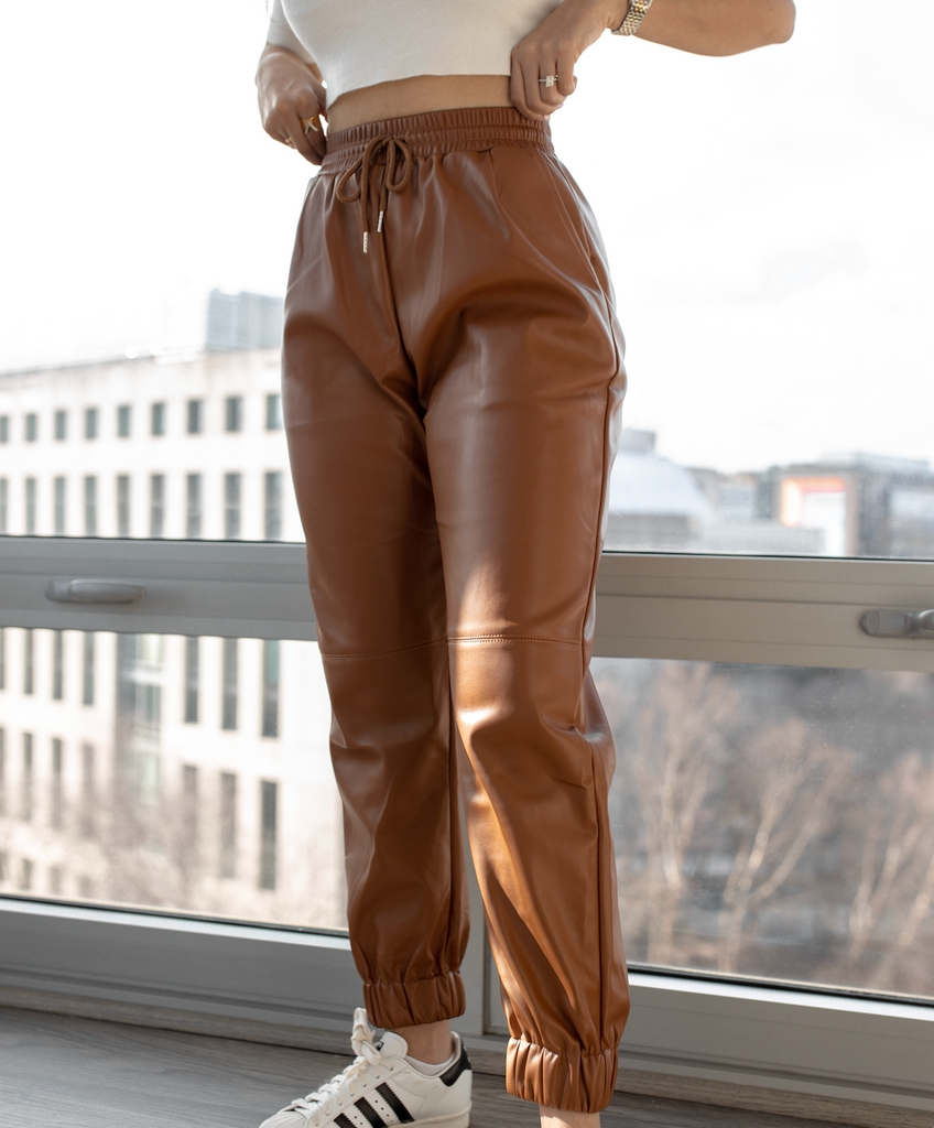 Victoria Faux Leather Joggers Camel