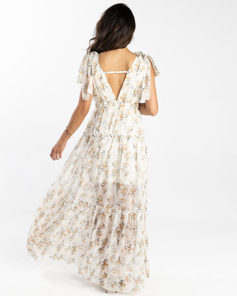 Joy Maxi Floral Dress Cream