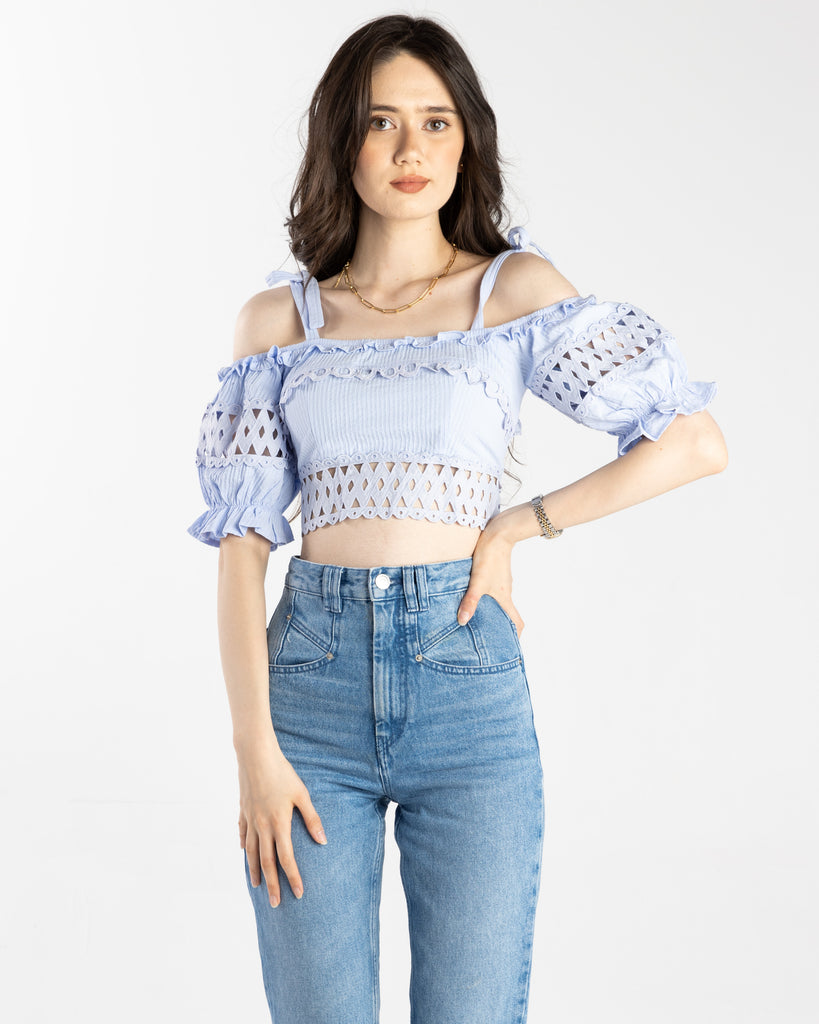 Mary Cold Shoulder Ruffle Crop Top