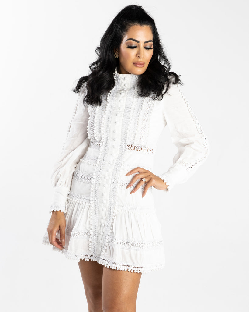 Yasmine Long Sleeve High Neck Dress White
