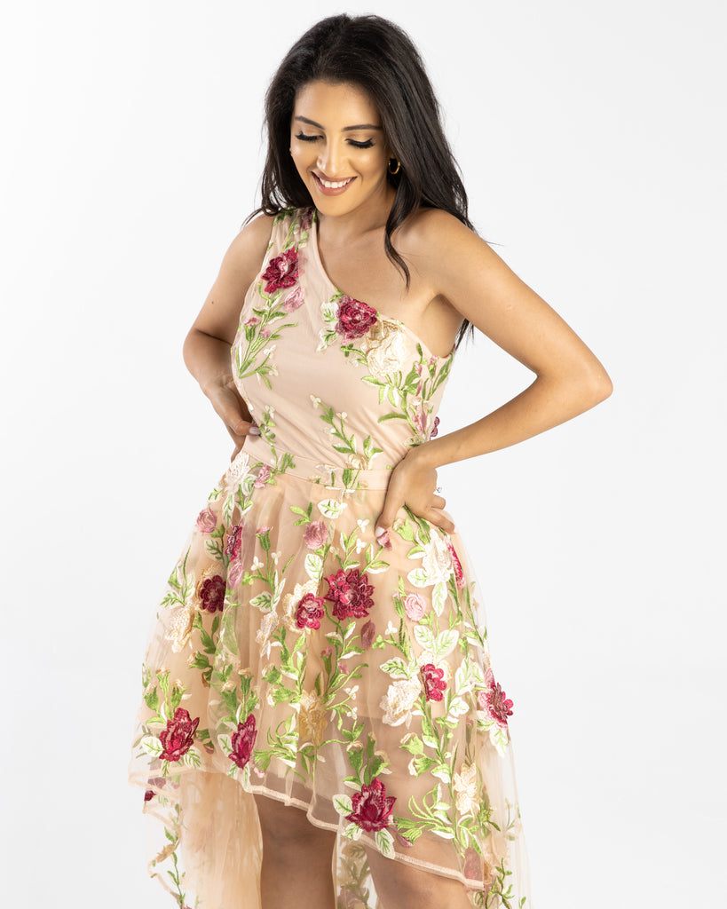 Lily High Low Floral Embroidery Dress