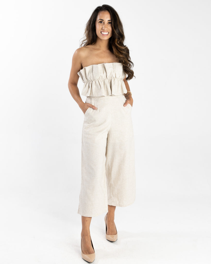 Marassi Ruffle Strapless Jumpsuit Natural