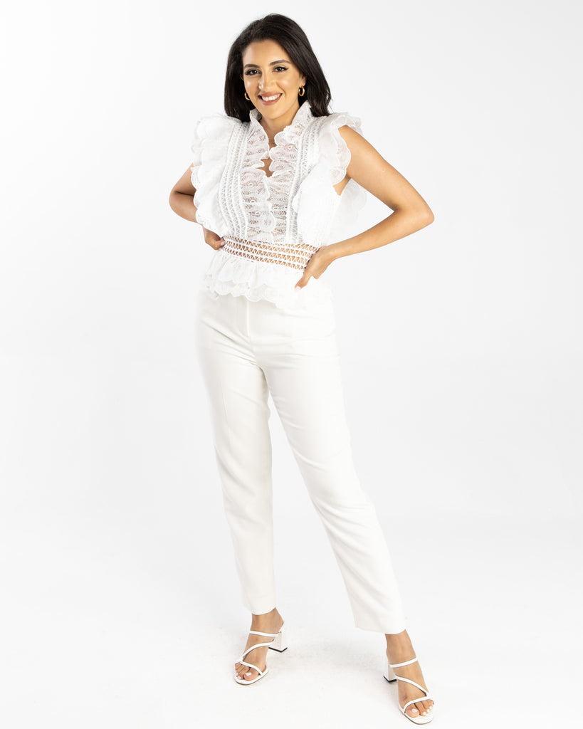 Olivia Crochet Lace Top White