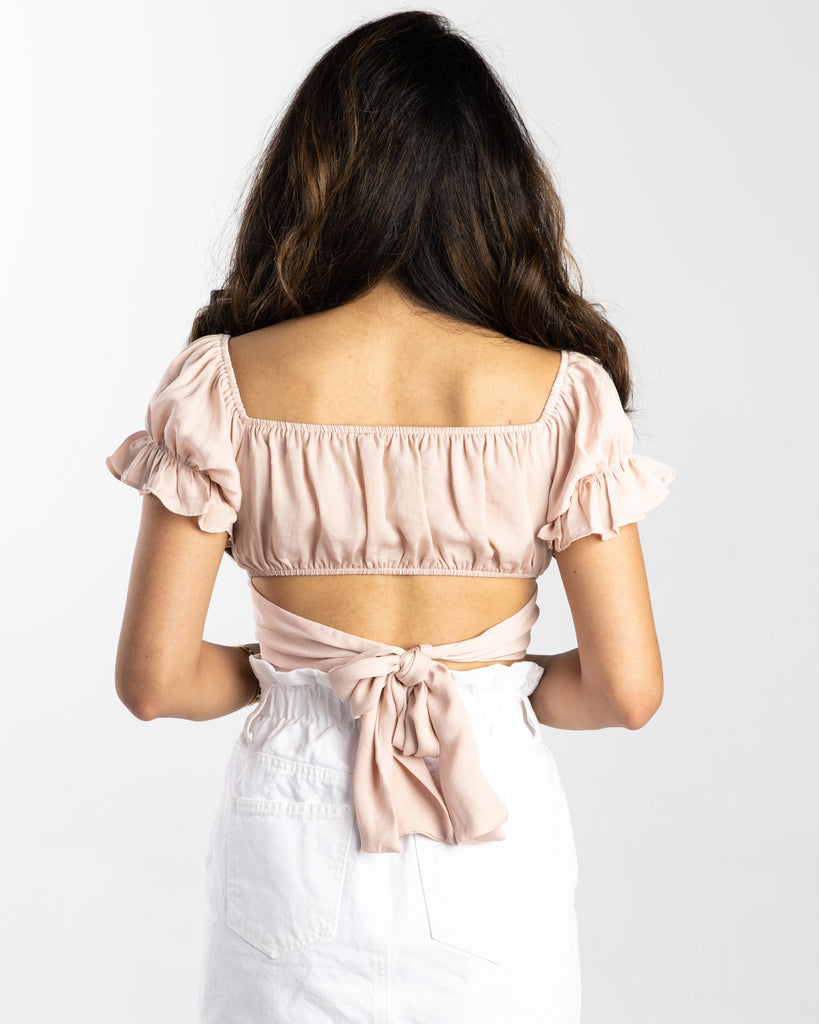 Ana Ruched Back Tie Crop Top