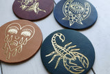 ALL-LEATHER COASTERS - 4 PACK