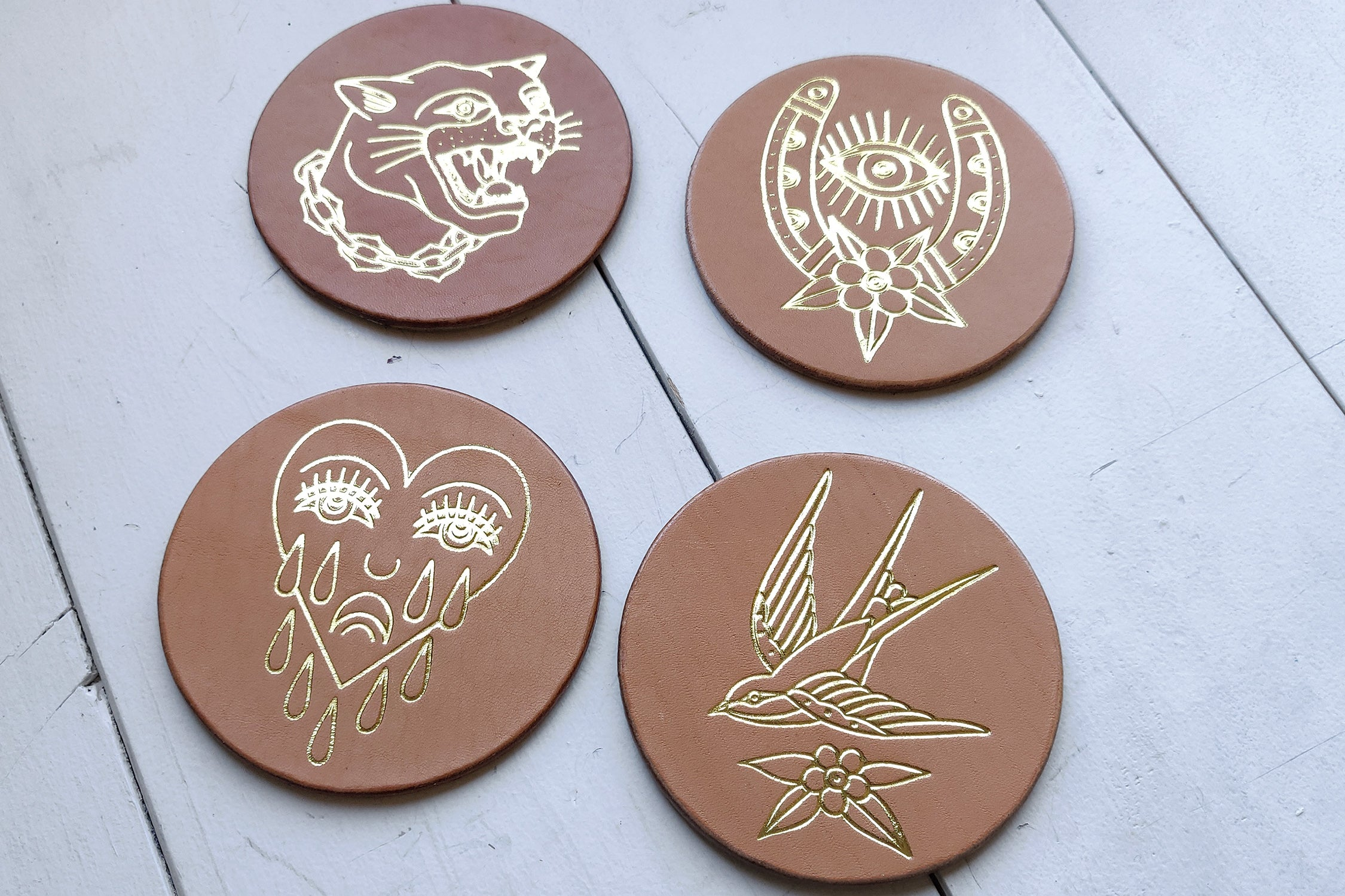 ALL-LEATHER COASTERS - 4 PACK (11-30-19 RESTOCK)