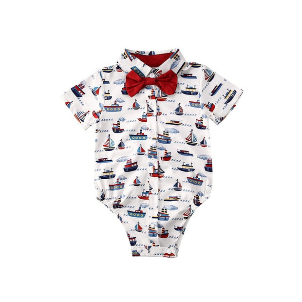 6 Style Baby Boy Gentleman Bodysuits with bowtie - Just Kiddin' Outlet