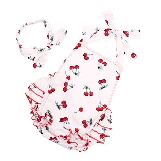 Sleeveless Cherry pattern Romper - Just Kiddin' Outlet