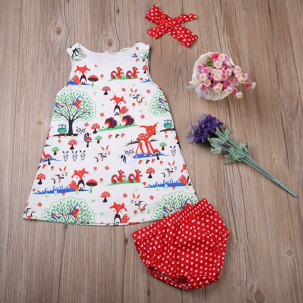 Adorable Baby Girl Floral Dress 0-24M 3pcs sets - Just Kiddin' Outlet