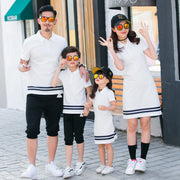 Family Matching Navy White Stripe Outfit - Just Kiddin' Outlet