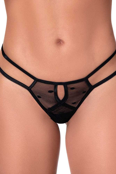 Black Rose Strappy Panty | Black Lace Thong Panty | Women's Underwear | Coy Fox