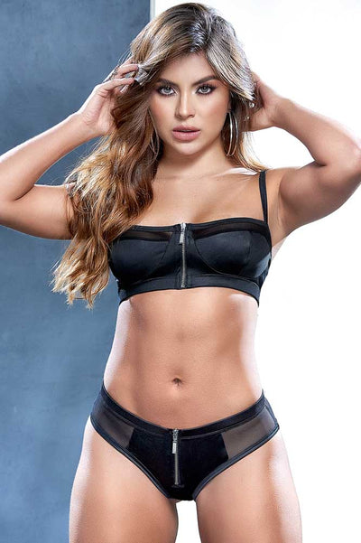 Mapale Black Bra Set | Zip Front Detail Bra Set | Black Bra and Panty Set | Black Lingerie | Coy Fox Boutique