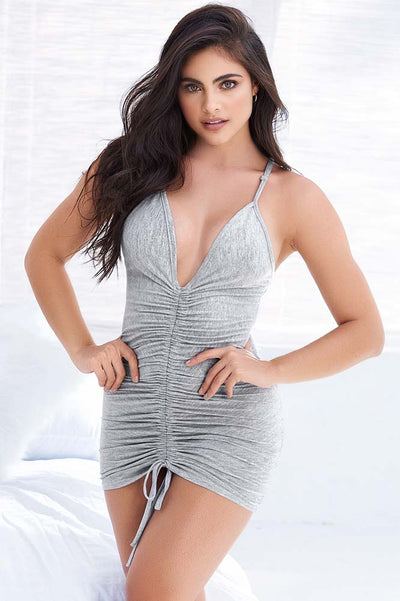 Mapale | Ruched Bodice Sleep Chemise | Gray Sleep Chemise | Sexy Sleep Chemise | Coy Fox Boutique