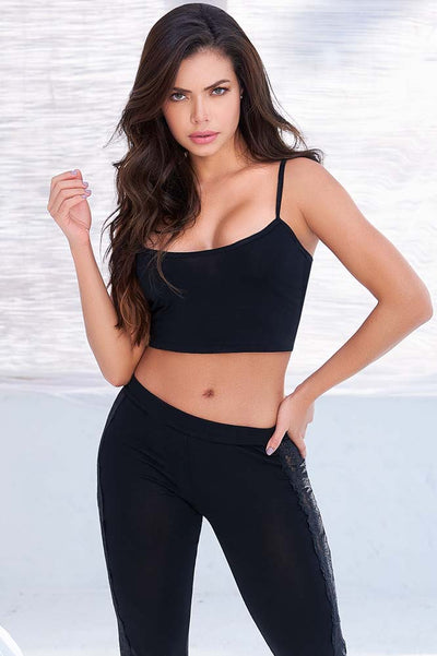 Sexy Black Crop Top Set Pajama Set | Mapale Black Crop Top Pajama Set | Lounge Wear | Coy Fox Boutique | Mapale Lingerie