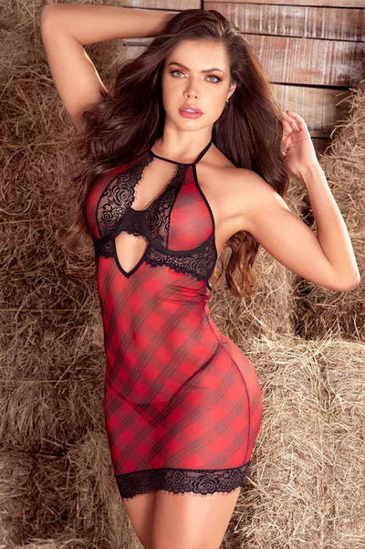 Black and  Red Plaid Babydoll Set with Underwire. Coy Fox Boutique