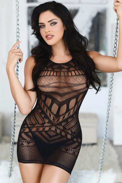Black Tribal Mesh Bodystocking | Sexy Lace and Mesh Bodystocking | Coy Fox Boutique