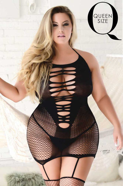 Plus Size Ripped Fishnet Bodystocking | Black Fishnet Body Stocking | Coy Fox Boutique